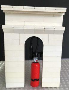 Modelo parte de un escaparate con Lego